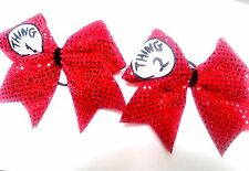Thing 1 Thing 2  red sequins Cheer Hair Bows