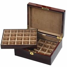 Camphor Burl Wood 40 Cufflink Box with Lock by Hillwood
