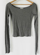 John Galt Top Crop Extra Long Sleeve Off Shoulder Jersey Gray One Size Fits XS-M
