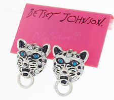 BETSEY JOHNSON 'Whiteout' Snow Leopard Door Knocker Silver-Tone Stud Earrings