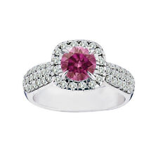 1.75 Ct Solitaire Pink Diamond Fancy Band Ring 14K White Gold Gorgeous Hpht
