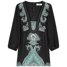 TIBI Ice Queen Black Paisley Print Silk Tunic Top Blouse 4 US / 8 UK $320