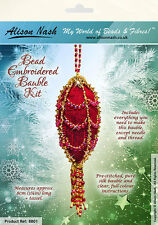 Christmas Bauble BEAD EMBROIDERY KIT - Red & Gold - Suitable complete beginners!