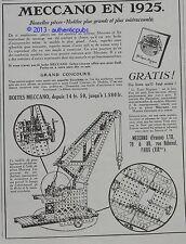 PUBLICITE MECCANO JEU CONSTRUCTION JOUET LA GRUE DE 1925 FRENCH AD PUB