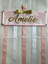 Hair Bow Holder - Personalized Pink & Gold Glitter Bow Organizer