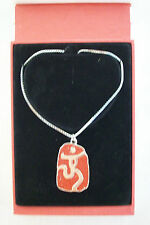 Beijing 2008 Olympic Games One World One Dream Silver & Red Logo Necklace
