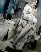 PLATINUM LUXE SILVER WHITE SAGA FOX FUR COAT FULL LENGTH SIZE L/XL GORGEOUS!!