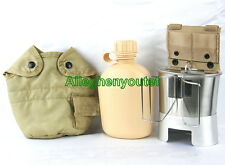 US Military TAN CANTEEN SET 1QT CANTEEN w COVER, ADAPTER, STOVE, CUP + LID NEW