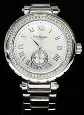 Silver Finish Iced Out Bling CZ Bezel Womens Metal Roman Dial Quartz Watch New
