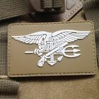 TAN US NAVY SEAL TEAM TRIDENT 3D PVC TACTICAL ARMY MORALE RUBBER VELCRO PATCH