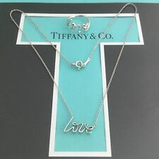 Tiffany & Co. Love Script Graffiti Set. Necklace Ring size 5. Authentic. New.