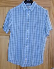 Men's Pale Blue Check Short Sleeve Penguin Shirt Size M