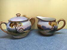 Vintage Hand Painted Nippon Raised Paint Sugar Bowl & Creamer Pastoral scene