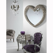 Large Heart Wall Mirror in Champagne with Roses 110X90cm