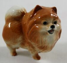 Miniature Pomeranian Pom Dog Handcraft  Animal Figurine Ceramic Handmade Brown