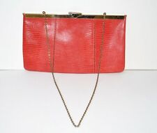 ETRA RED LIZARD LEATHER VINTAGE CLUTCH BAG