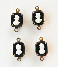 VINTAGE 4 BLACK GLASS CAMEO CONNECTOR BEADS OCTAGON • 10x8mm • Red's Vintage!