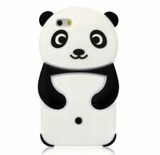 For iPhone 6 / 6S - SOFT SILICONE GUMMY RUBBER SKIN CASE COVER BLACK PANDA BEAR
