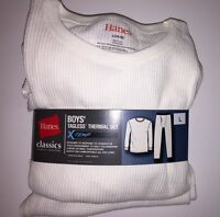 "HANES Boy's 2-PC Thermal Warm Underwear Set Pants & L/S Top""NATURAL"" Size L  NWT"