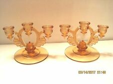 "Pink Depression Glass Triple Taper Candleholders  1Pair.  Eash 5"" High X 7"" Wide"