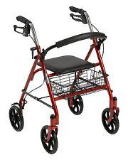"""RED Durable Rollator Walker, 4 Wheels, Basket, 7.5"""" Wheels, Folding, 300 lb Cap"""