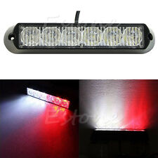 6 LED DRL Car Emergency Beacon lampe stroboscopique Voyant blanc + rouge