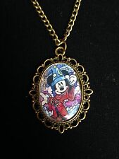 Bronze Picture Charm Necklace Pendant Disney Stained Glass Mickey Mouse Fantasia