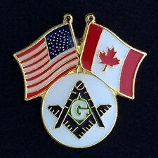 Masonic USA & Canadian Flag Lapel Pin