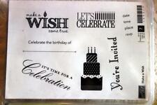 "STAMPIN' UP! ""Make a Wish"" Wood Unmounted rubber stamp Set of 7 NEW"