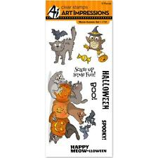 Art Impressions Halloween Clear Meow-llween Stamp Set Cats Bats Owl