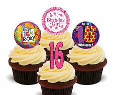 16th Birthday Girl Edible Cup Cake Toppers, Standup Fairy Bun Decorations Pink
