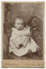 CABINET CARD  TODDLER GIRL WITH BABY DOLL. SING SING, N.Y.