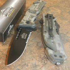 Master Digital Camo Skull Medallion Tactical Rescue Spring Assisted Pocket Knife