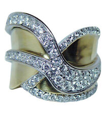 Sonia B Bitton Pave Diamonds Ring Band 18K Yellow Gold 18gr Heavy Boxed