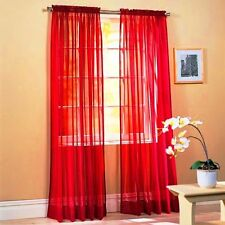 "Sheer Voile 2-Piece Red Curtain Panel Solid Window Treatment 84"" Long New"