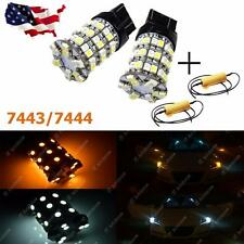 2X Dual Color 7443 60-SMD LED Turn Signal Light Bulbs + Load Resisters 7444NA