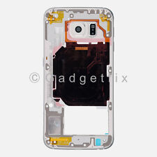 US White Samsung Galaxy S6 G920V G920P Back Housing Frame Bezel + Camera Lens