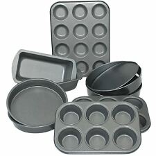 9 Piece Non Stick Carbon Steel Bake ware Baking Set Ovan Tray Muffin Loaf & more