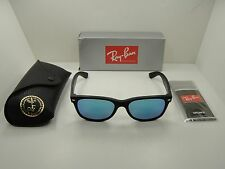 RAY-BAN NEW WAYFARER SUNGLASSES RB2132 622/17 BLACK/BLUE FLASH LENS 52MM, NEW!