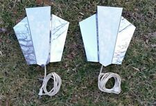 PAIR Mid Century Modern Chrome DECO Style Wall Sconce Lights Eames Era Decor