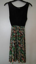 BNWT Black Vest Top Dress with Patterned Skirt From Indulgence size M/L
