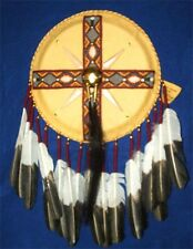 Fancy Beaded Leather War Shield Authentic Native American Regalia Artifact MS04