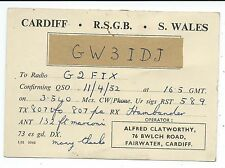 WALES - CARDIFF, 1952 QSL Radio Transmission Confirmation Card  GW3IDJ