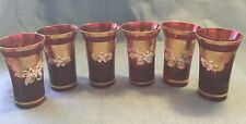 Vintage Bohemian Czech Ruby Red Glasses of 6 with enamel flowers Gold