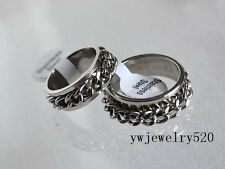 5pcs Silver Stainless Steel Chain Double Spin Mens Rings Wholesale Lots