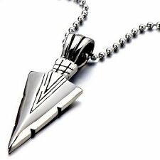 Charm Men's Cool Silver Stainless Steel Arrow Pendant Necklace Jewellery Gifts