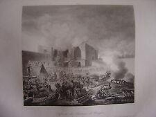 Grande gravure de la Défense du Château de BURGOS octobre 1812