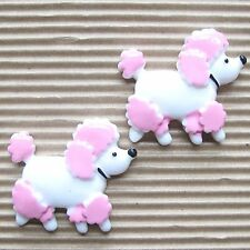 "Us Seller - 10 pcs x 1.5"" Resin Poodle/Doggy Flatback/Embellishments w/Pink Sb98"