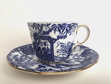 Royal Crown Derby Blue Mikado Pattern Dover Tea Cup and Saucer English Pottery