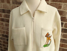 Disney Catalog Bambi Zip Front Fleece Jacket Shirt Small Embroidered Pullover